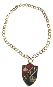 Trifari Vintage chuncky crown Trifari Brass Shield Pendant with gold tone necklace chain