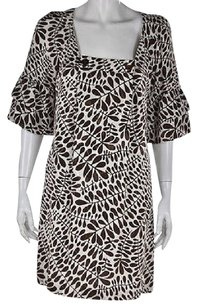 Trina Turk short dress Multi-Color Womens Brown Shift Printed 34 Sleeve Above Knee on Tradesy