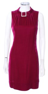 Trina Turk Sleeveless Velvet Shift Holiday Rhinestone Buckle Dress