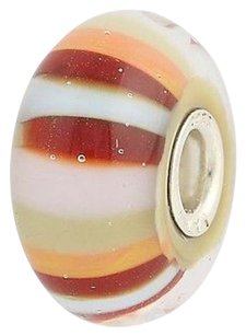 Trollbeads Trollbeads Charm Sterling Silver Murano Glass Bead 61465 Strawberry Stripes