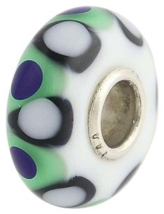Trollbeads Trollbeads Charm White Blue Green Black Sterling Silver Murano Glass Bead