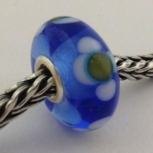 Trollbeads Trollbeads Ooak Murano Glass Unique Blue W Flower Bead Charm