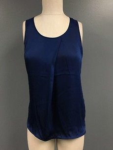 Trouvé Sleeveless Flowy Scoop Neck Contrast Fabric Sma8720 Top Blue