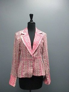 True Meaning True Meaning Pink Purple Long Sleeved Cotton One Button Blazer Sm5153