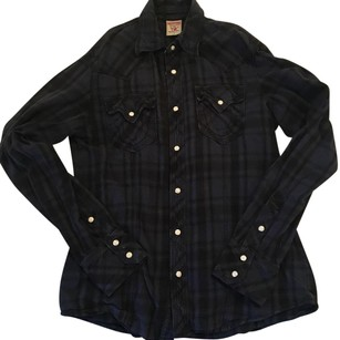 True Religion Button Down Shirt Navy Blue