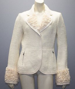 Tuleh Tuleh Ivory Cream Wool Blend Tweed Silk Lined Blazer Jacket Hs967