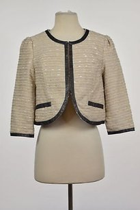 Tulle Tulle Womens Beige Tweed Blazer 34 Sleeve Cropped Metallic Career Jacket