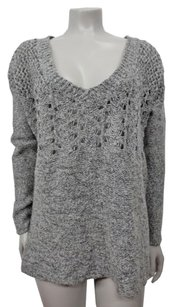 Twelfth St. by Cynthia Vincent Street Marled Open Knit V Neck Sweater
