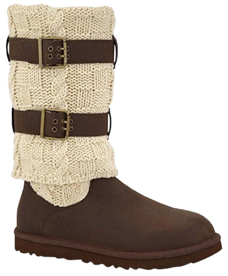 UGG Australia New In Box Women's Cassidee Tall Chocolate Leather/Knit Boots/ Booties Size US 7 - Tradesy