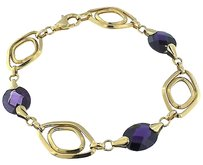 Other Womens,Solid,18k,750,Yellow,Gold,Amethyst,Bracelet,7.75,13mm,11.8g