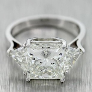 Platinum 6.52ctw I/si2 Princess And Trillion Cut Diamond Engagement Ring