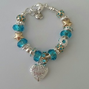 New European Heart Mother Daughter Gift Baby Blue Charm Dangle Bracelet Wedding Sterling Silver Bead