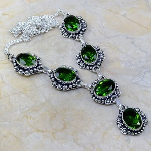 Silver Green Topaz Y Necklace Free Shipping