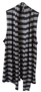 Sleeveless Cardigan Striped Top Black and Gray
