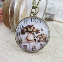 Vintage Floral Watch Sweater Necklace Free Shipping