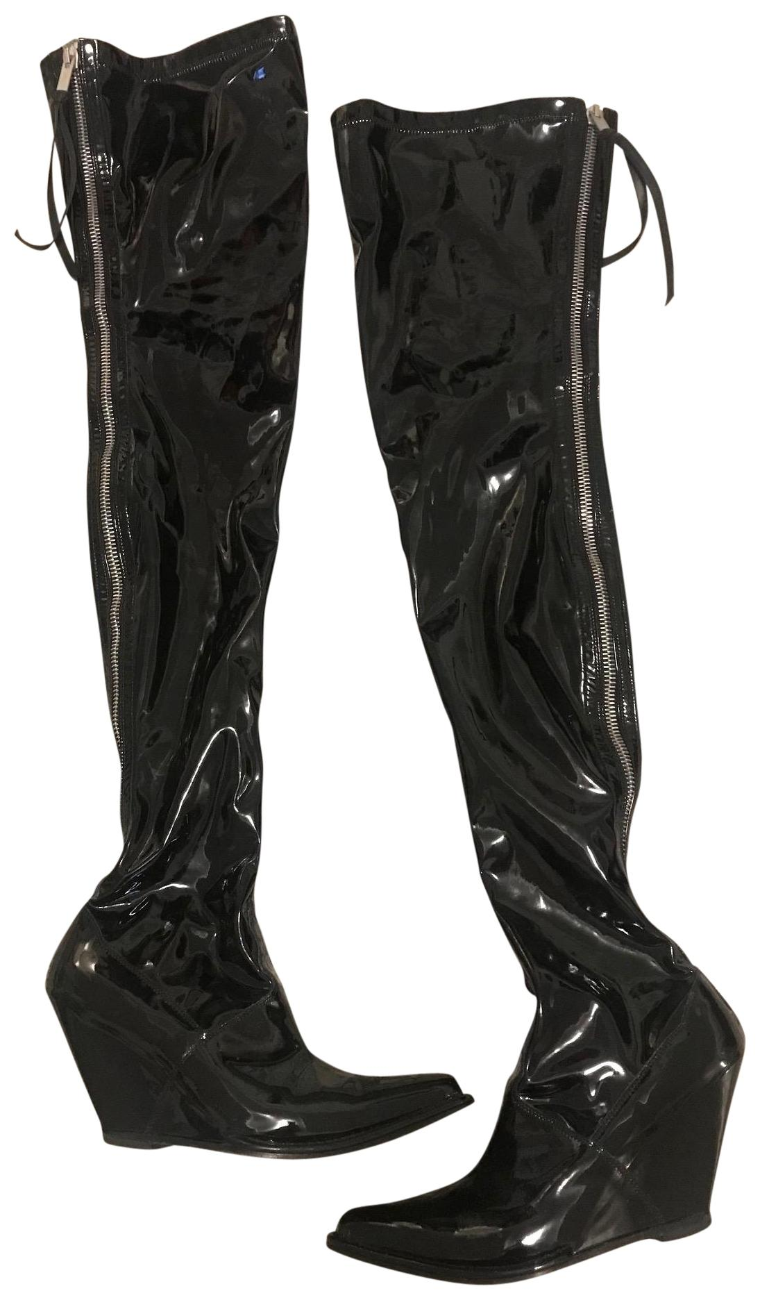 Unravel Project Black Patent Leather Wedge Cuissard Boots ...