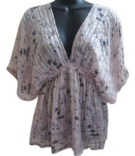 Urban Outfitters Beach Print Kimono Pastel Summer Top Pink & Black