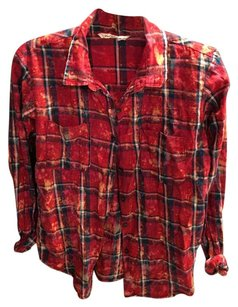 Urban Outfitters Button Down Shirt Red Blue