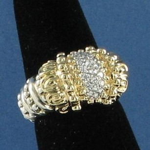 VAHAN Alwand Vahan 14k Yg Petal Cap Sterling Diamond Ring 0.31cts 6.75