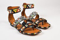 Valentino Black Multi Leather Painted Primitive Flat Multi-Color Sandals