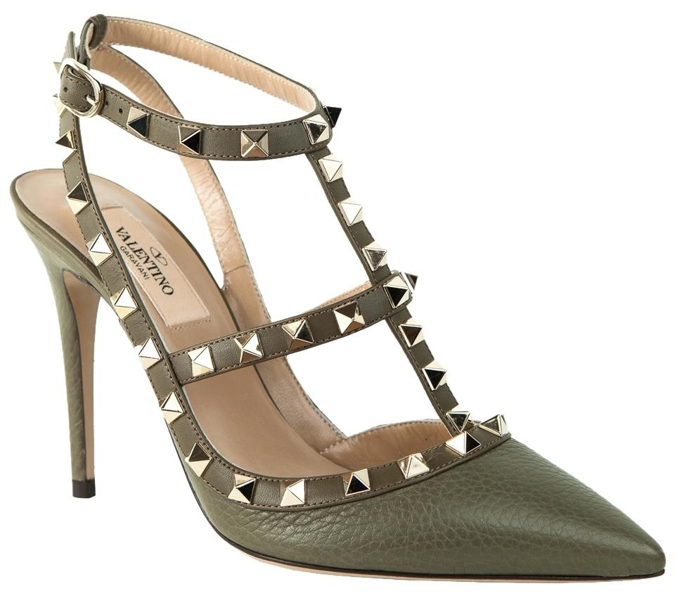 Valentino Army Green Rockstud Leather 100mm Ankle Strap Pumps Size US 5.5 Regular (M, B)