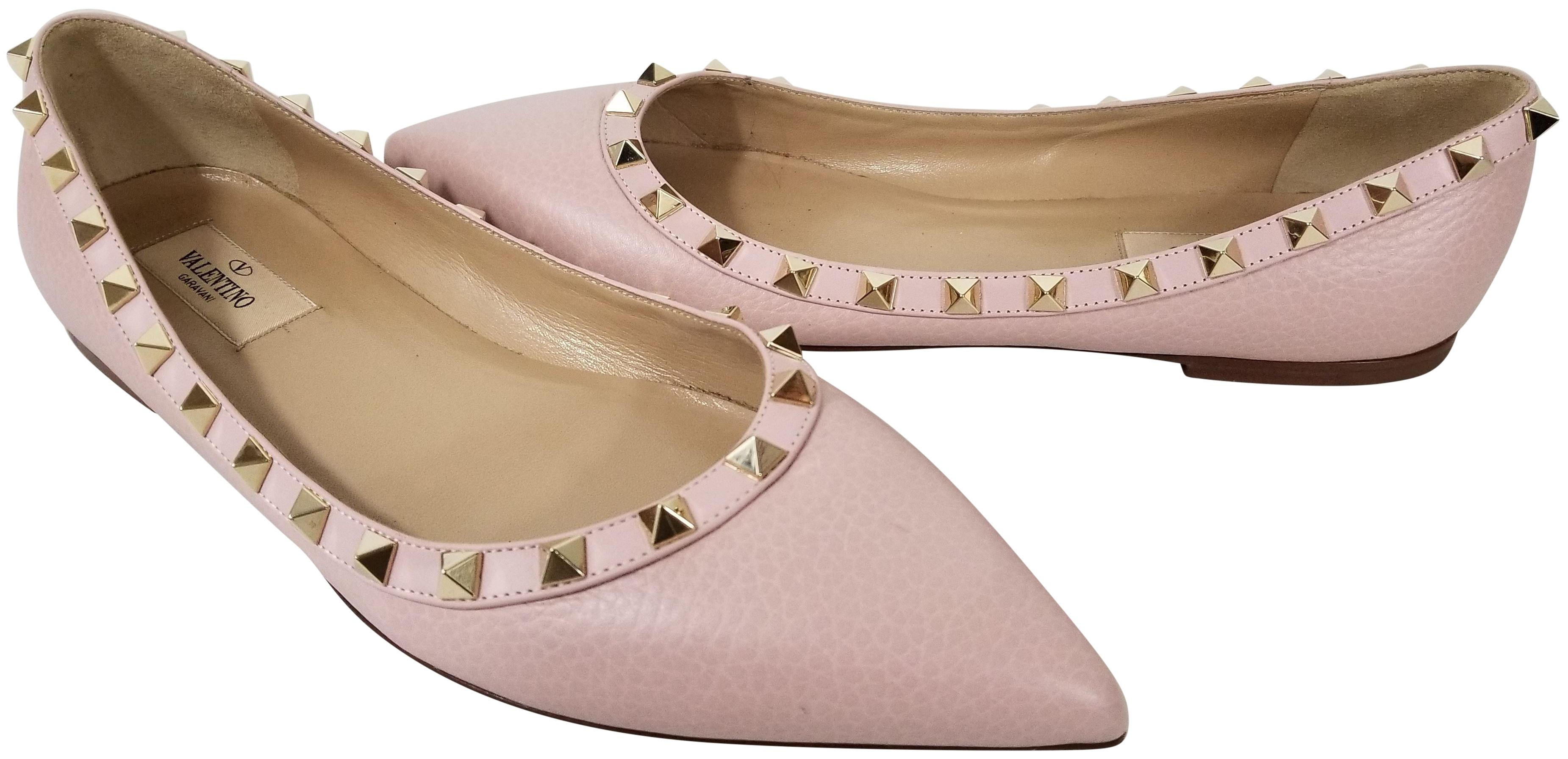 VALENTINO Rockstud leather ballet shoes Bone - A9775