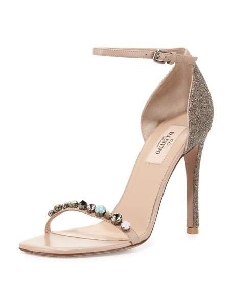 Valentino Beige Embellished Glitter Pumps Size EU 40 (Approx. US 10) Regular (M, B)