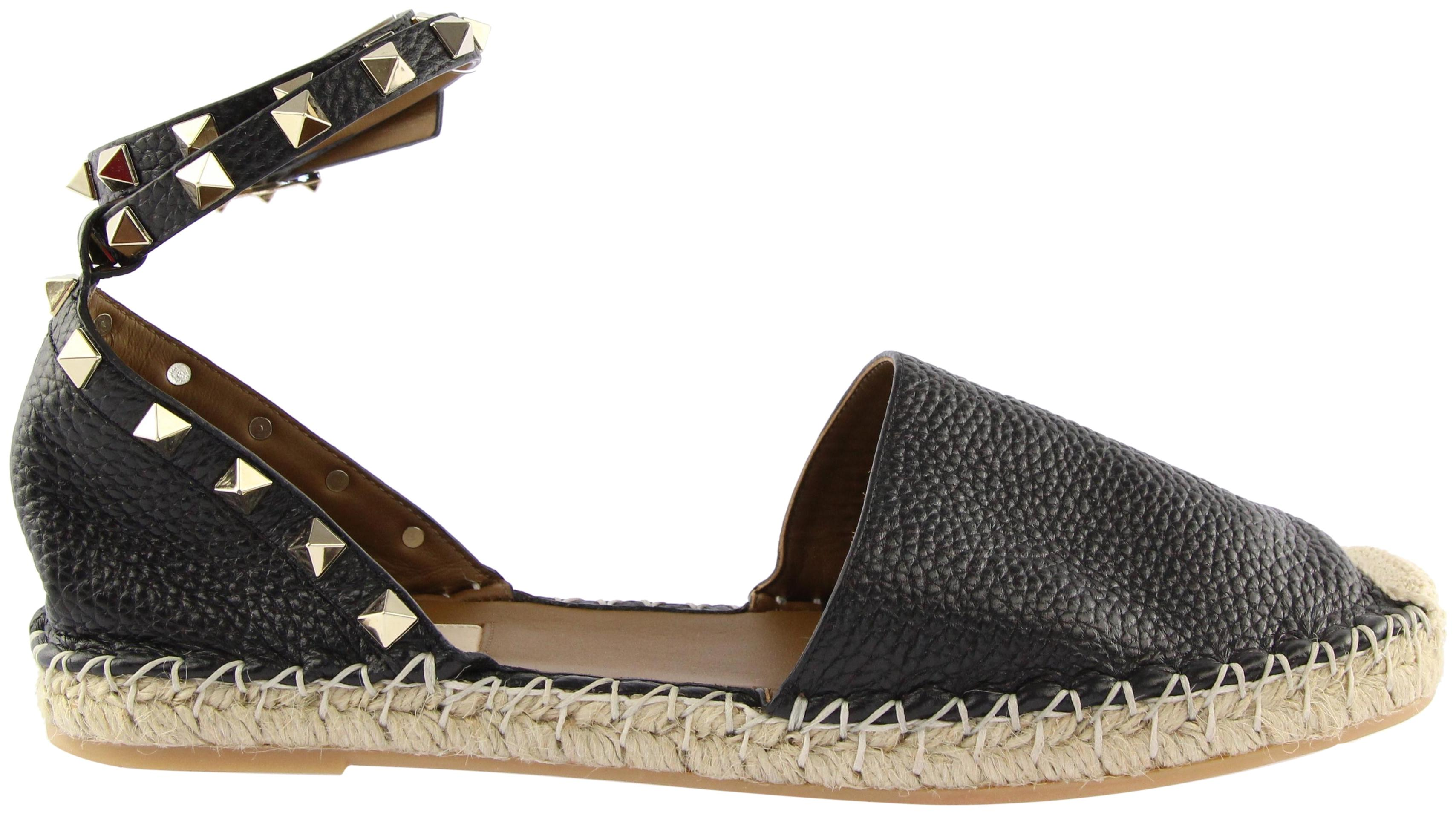 Valentino Black Double Strap Rockstud Leather Espadrille Flats Size EU 39 (Approx. US 9) Regular (M, B)