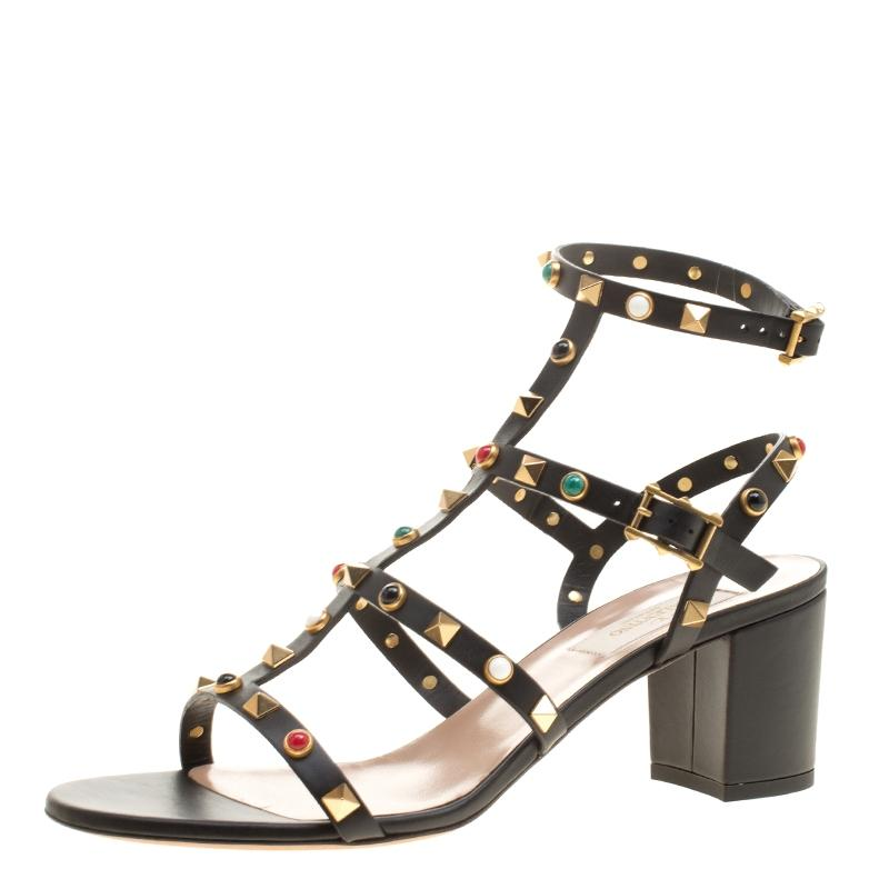 Valentino Black Leather Rolling Rockstud Cabochon Gladiator Sandals Size EU 39 (Approx. US 9) Regular (M, B)