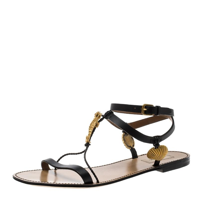 Valentino Black Leather Starfish and Seahorse Sandals Flats Size EU 40 (Approx. US 10) Regular (M, B)