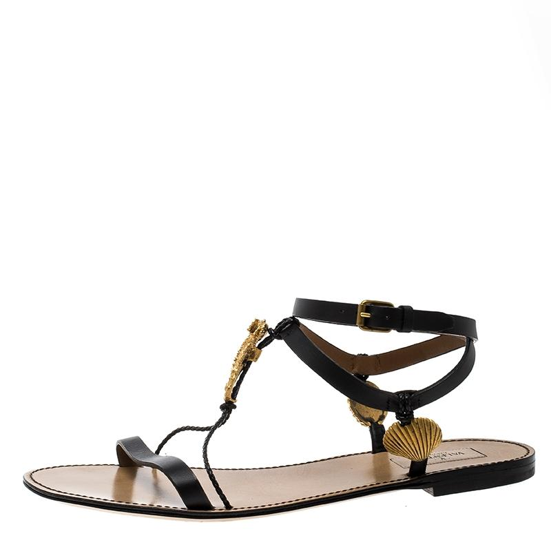 7c5a1e620 Valentino Black Leather Starfish and Seahorse Sandals Sandals Sandals Flats  Size EU 40 (Approx.