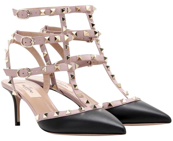 Valentino Black New Rockstud Ankle Strap Pumps Size US 9.5 Regular (M, B)