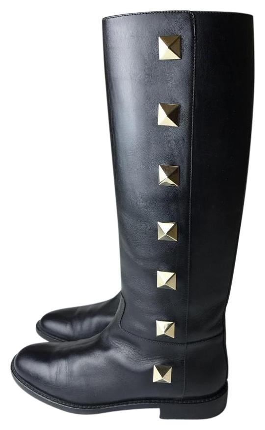 Valentino Black Rockstud Studded Leather Knee High Boots/Booties Size EU 39 (Approx. US 9) Regular (M, B)