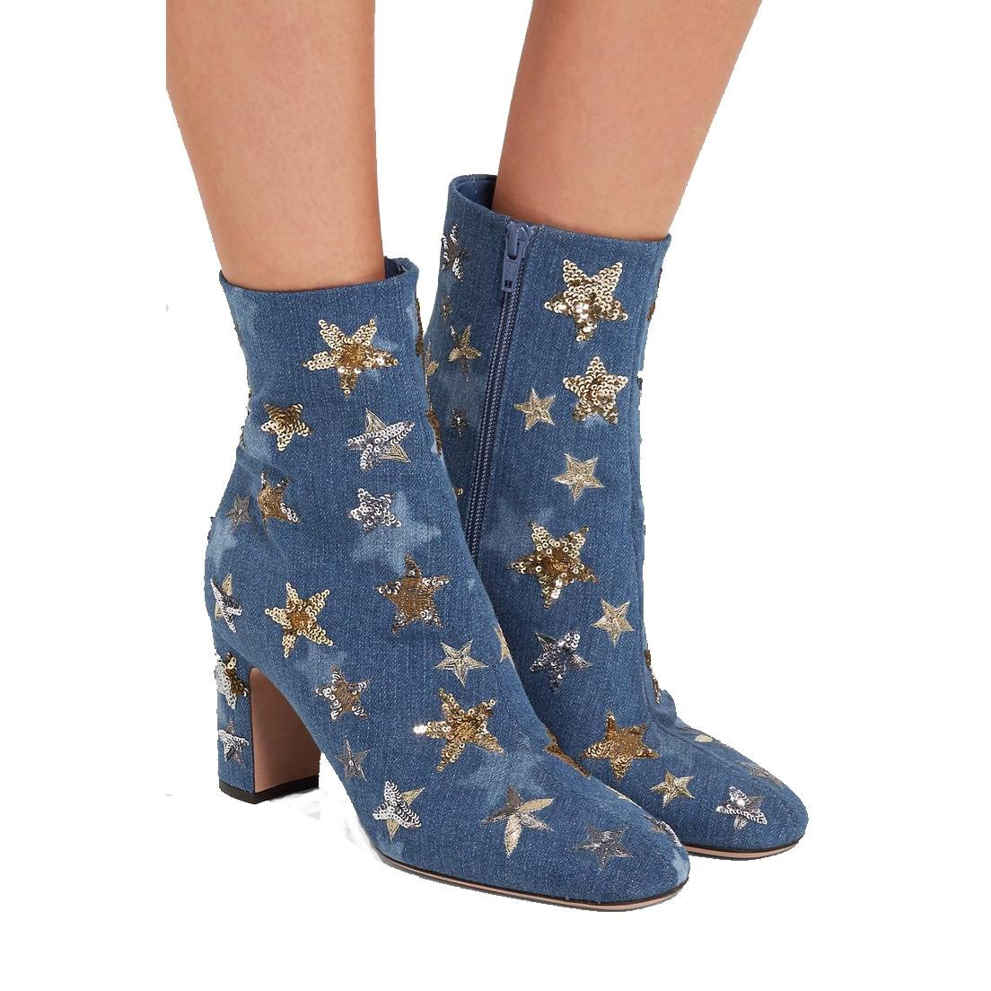 Valentino Blue Denim Star Embellished Boots/Booties Size EU 38.5 (Approx. US 8.5) Regular (M, B)
