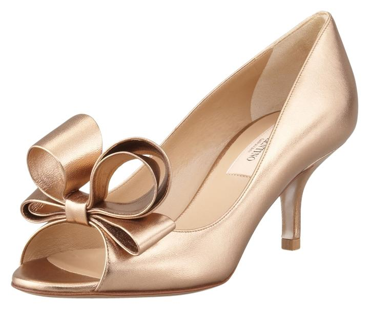 Valentino Bronze Bow Open Toe Metallic Leather Formal Shoes Size ...