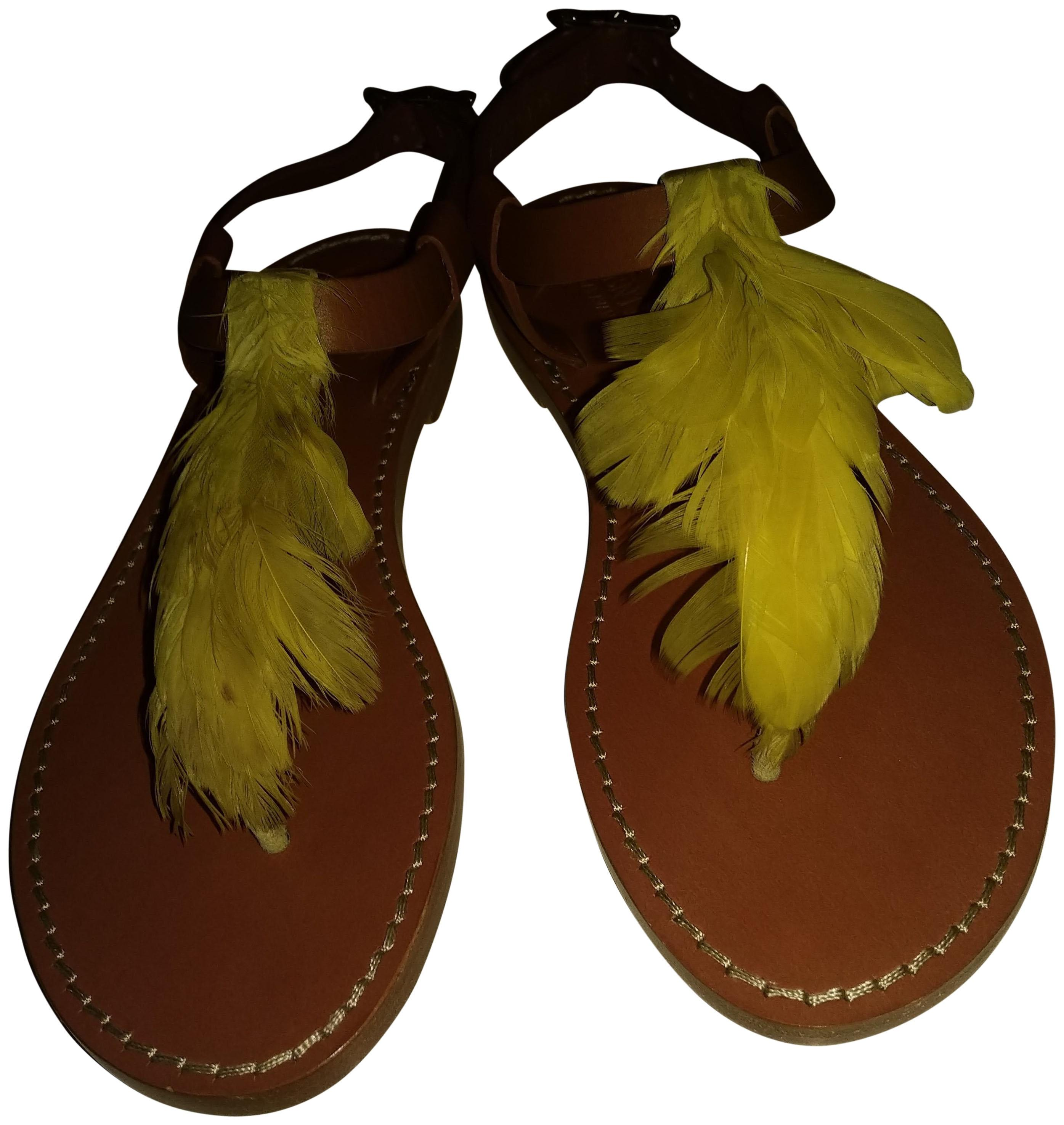 37f466e12245 Valentino Brown Lime Caravani Made In Italy Italy Italy with Feathers Flats  Size EU 36 (Approx. US 6) Regular (M