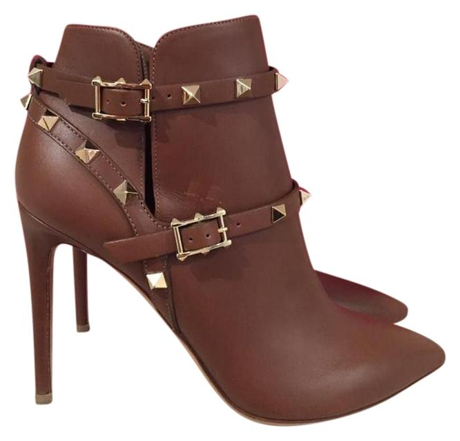 Valentino Brown Rockstud Tan Leather Buckle Ankle Heel 37 Boots/Booties Size US 7 Regular (M, B)