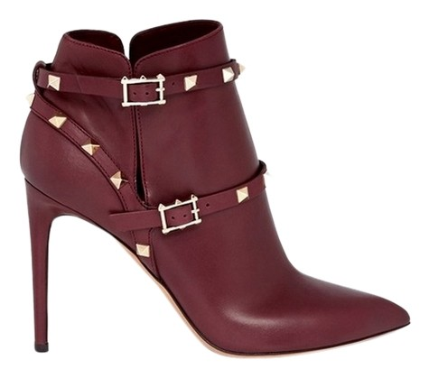 Valentino Burgundy Rockstud Ankle Harness Leather Eur 38.5 Boots/Booties Size US 8 Regular (M, B)