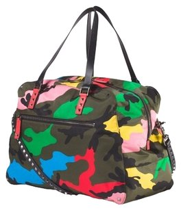 Valentino Camo with Hotpink and yellow Travel Bag