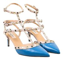 Valentino Taupe Leather Blue Pumps