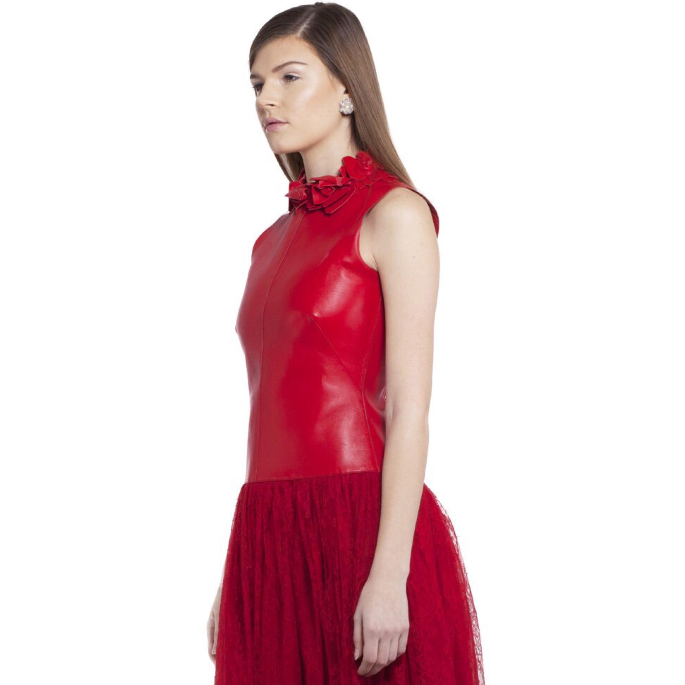 valentino red new w tag 2014 fall leather lace embroidery