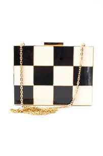 Valentino White Gold Black Clutch