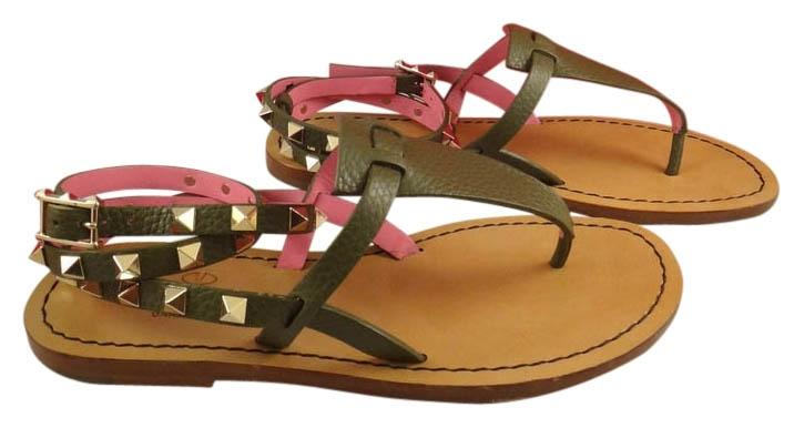 Valentino Green Rockstud Pink Leather Ankle Wrap Thong Flat 36 Sandals Size US 6 Regular (M, B)