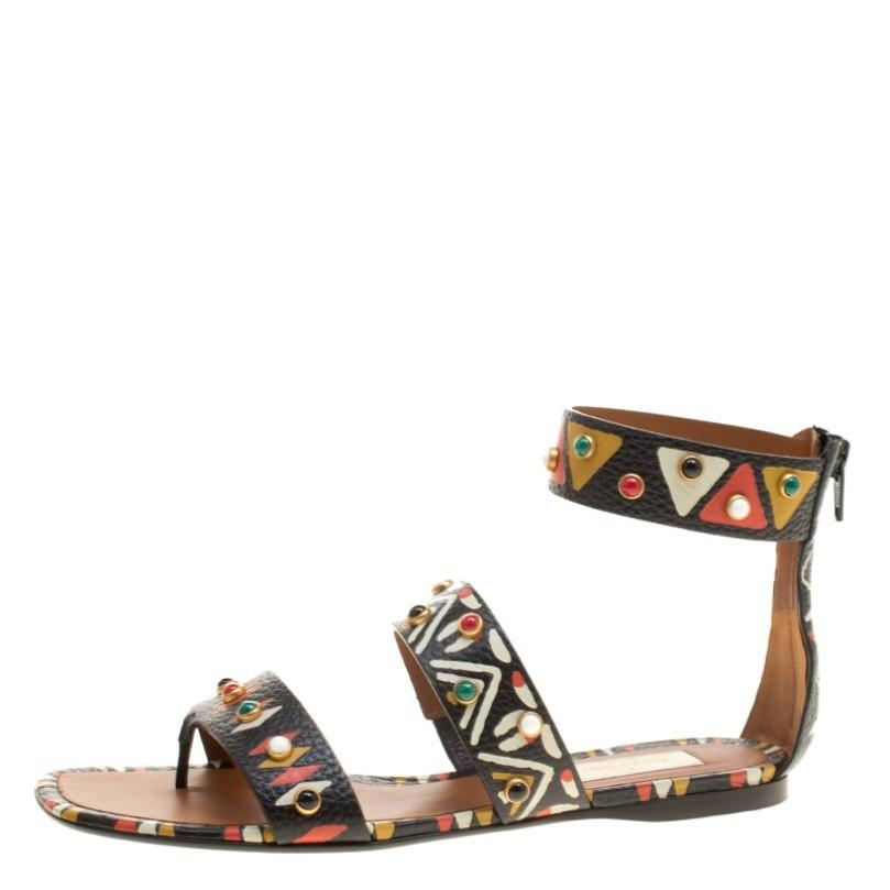 Valentino Hand Painted Tribal Design Studded Leather Flat Sandals Size EU 37.5 (Approx. US 7.5) Regular (M, B)