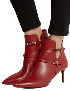 Valentino Italian Leather Rockstud Ankle Strap Red Boots