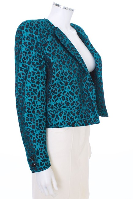 Valentino Jacket Vintage Quilted Teal and Black Blazer