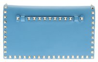 Valentino Leather Rockstud Blue Clutch