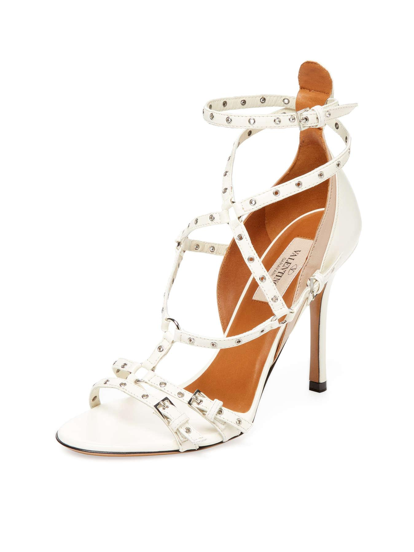 Valentino Valentino Valentino Light Ivory/Poudre Love Latch Leather Sandal Pumps Size US 8 Regular (M, B) ed3c5d