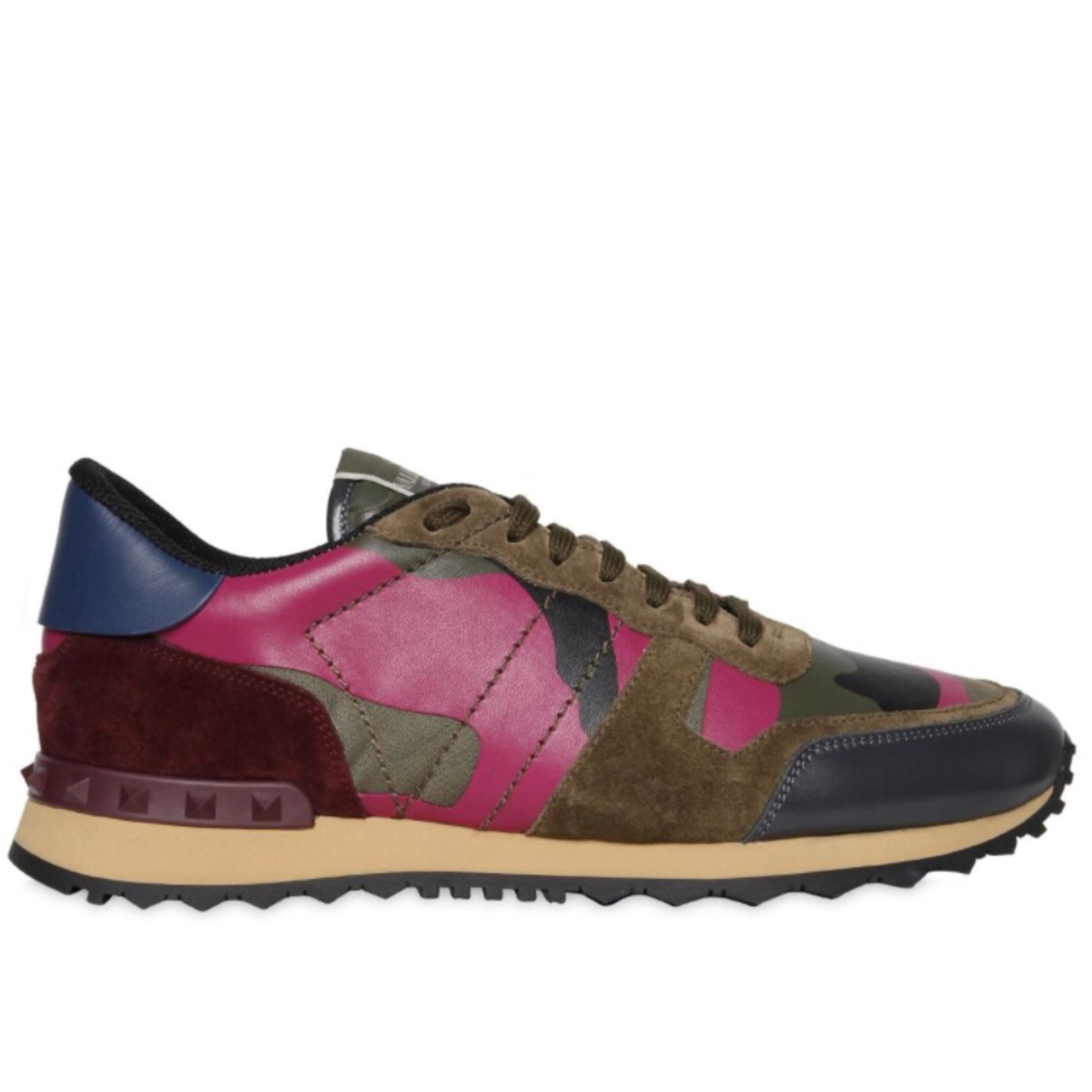 Valentino Maroon Blue and Green Men's Garavani Rockrunner Camouflage Sneakers Sneakers Size EU 43 (Approx. US 13) Regular (M, B)