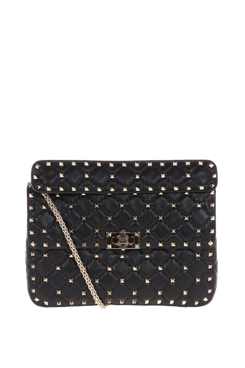 Black Rockstud Spike medium leather shoulder bag Valentino 5jsG5ok8